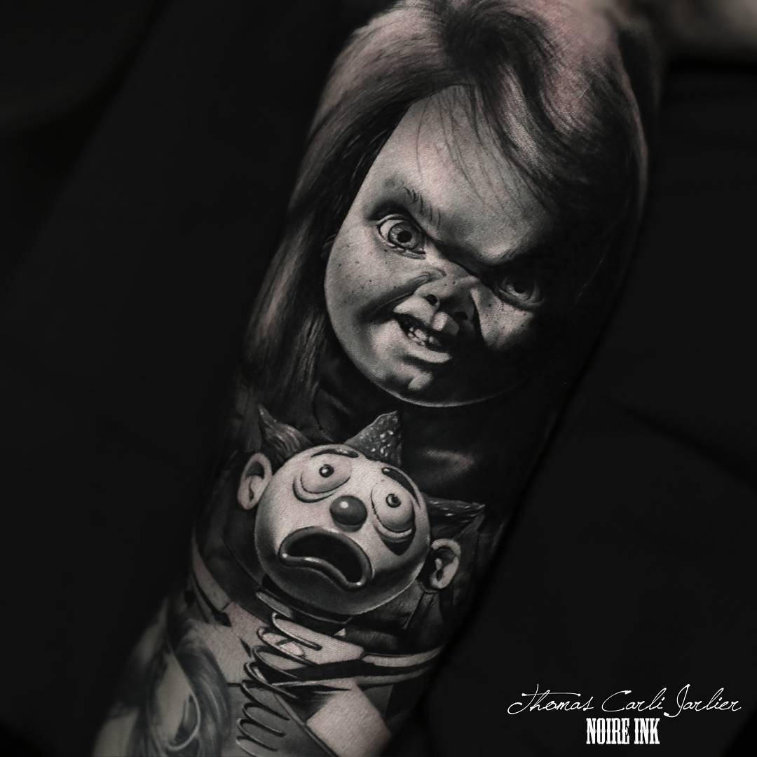 chucky tattoo by thomas carli jarlier. Black Bedroom Furniture Sets. Home Design Ideas