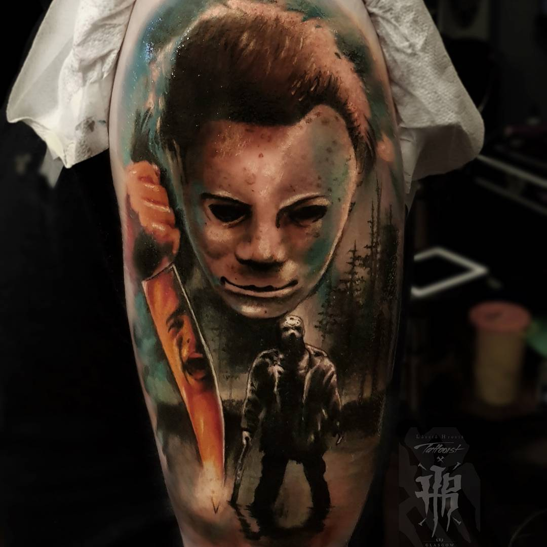 Michael myers tattoo by laszlo hrozik for Michael myers tattoo
